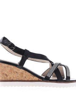 Sandale dama cu platforma K55 negre - Incaltaminte Dama - Sandale Dama