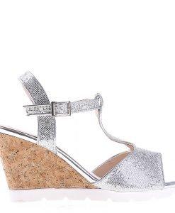 Sandale dama cu platforma K59 argintii - Incaltaminte Dama - Sandale Dama