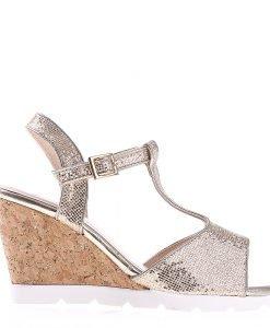 Sandale dama cu platforma K59 aurii - Incaltaminte Dama - Sandale Dama