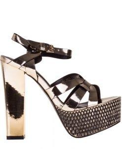 Sandale dama cu platforma Saphira aurii - Incaltaminte Dama - Sandale Dama