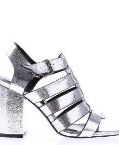 Sandale dama cu toc Eleanor argintii - Incaltaminte Dama - Sandale Dama