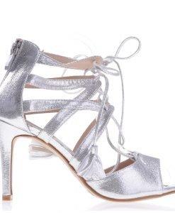 Sandale dama cu toc F53 argintii - Incaltaminte Dama - Sandale Dama