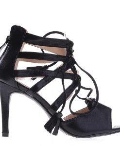 Sandale dama cu toc F53 negre - Incaltaminte Dama - Sandale Dama