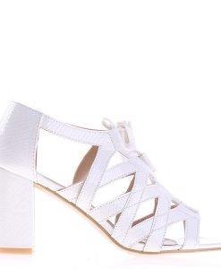 Sandale dama cu toc Heather albe - Incaltaminte Dama - Sandale Dama