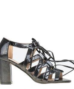 Sandale dama cu toc Heather negre - Incaltaminte Dama - Sandale Dama