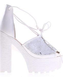 Sandale dama cu toc Rosales albe - Incaltaminte Dama - Sandale Dama