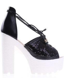 Sandale dama cu toc Rosales negre - Incaltaminte Dama - Sandale Dama