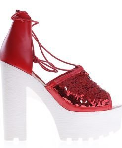 Sandale dama cu toc Rosales rosii - Incaltaminte Dama - Sandale Dama