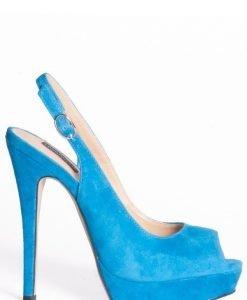 Sandale de seara cu varf decupat si toc inalt Turcoaz - Incaltaminte - Incaltaminte / Sandale