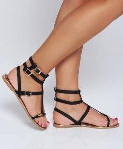 Sandale negre casual cu talpa joasa si usoara - Sandale -