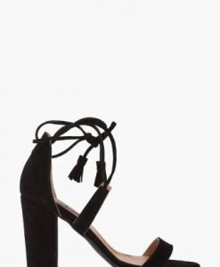 Sandale negre cu siret si franjuri din piele intoarsa naturala CB28 - Sandale -