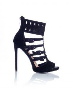 Sandale negre din piele intoarsa cu barete Negru - Incaltaminte - Incaltaminte / Sandale