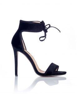Sandale negre din piele intoarsa cu siret Negru - Incaltaminte - Incaltaminte / Sandale