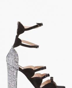 Sandale negre elegante din piele naturala cu glitter aplicat CB007 - Sandale -