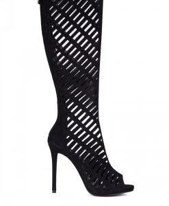 Sandale negre inalte din piele intoarsa perforata Negru - Incaltaminte - Incaltaminte / Sandale