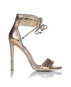 Sandale texturate aurii cu siret Auriu - Incaltaminte - Incaltaminte / Sandale