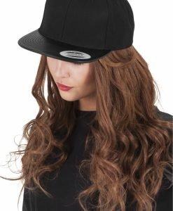 Sepci rap Snapback din piele negru-negru Flexfit - Sepci snapback - Flexfit>Sepci snapback