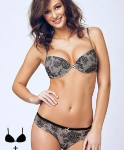 Set sutien cu efect Push-Up si chilot 4375 Black - OUTLET - Sutiene - Outlet