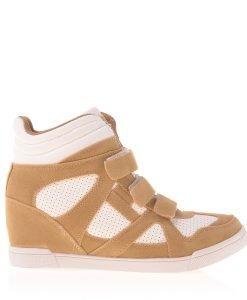 Sneakers dama Georgiana camel cu alb - Incaltaminte Dama - Sneakers Dama