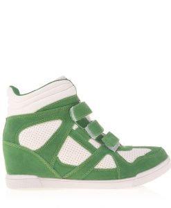 Sneakers dama Georgiana verde cu alb - Incaltaminte Dama - Sneakers Dama