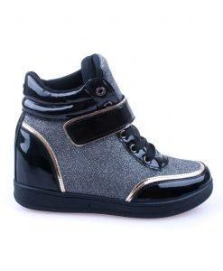 Sneakers dama Norma 1 negru cu argintiu - Promotii - Lichidare Stoc