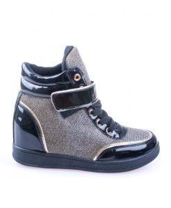 Sneakers dama Norma 1 negru cu auriu - Promotii - Lichidare Stoc