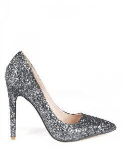 Stiletto cu glitter argintiu Argintiu - Incaltaminte - Incaltaminte / Pantofi cu toc