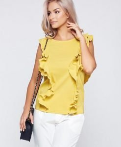 Top PrettyGirl galben eleganta cu croi larg cu volanase - Topuri -