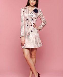 Trench cu buline LaDonna rosa cu brosa in forma de floare - Trenciuri -