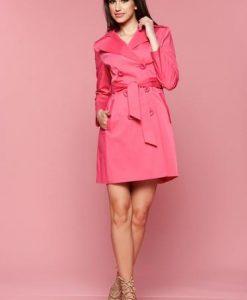 Trench cu buzunare LaDonna roz cu maneca lunga - Trenciuri -