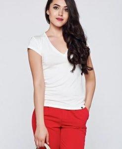 Tricou PrettyGirl alb casual mulat cu maneca scurta - Tricouri -