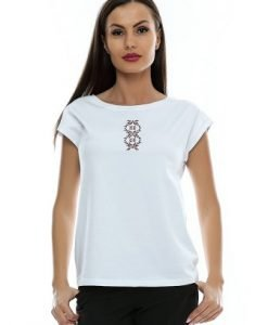 Tricou alb din bumbac cu motiv traditional B82 - Tricouri -