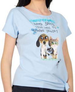 Tricou bleu din bumbac cu imprimeu animalute D1900CP - Tricouri -