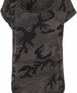 Tricou camuflaj mai lung in spate pentru Femei inchis-camuflaj Urban Classics - Tricouri urban - Urban Classics>Femei>Tricouri urban
