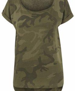 Tricou camuflaj mai lung in spate pentru Femei oliv-camuflaj Urban Classics - Tricouri urban - Urban Classics>Femei>Tricouri urban