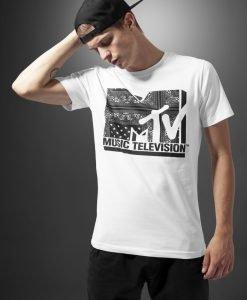 Tricou casual cu imprimeu MTV I am Music alb Merchcode - Tricouri cu trupe - Mister Tee>Trupe>Tricouri cu trupe