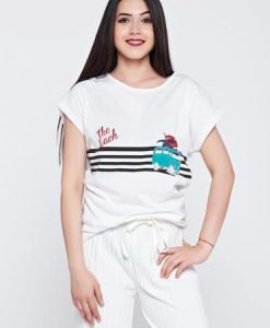 Tricou casual cu print alb cu dungi orizontale - Tricouri -