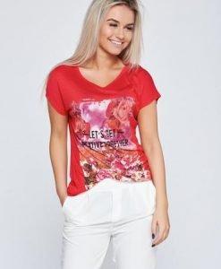 Tricou casual din bumbac elastic rosu cu imprimeuri florale - Tricouri -