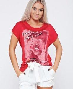 Tricou casual din bumbac rosu cu print - Tricouri -