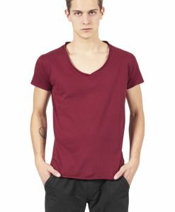 Tricou casual fitted cu decolteu in V rosu burgundy Urban Classics - Tricouri urban - Urban Classics>Barbati>Tricouri urban