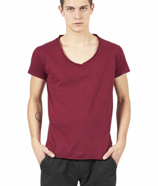 Tricou casual fitted cu decolteu in V rosu burgundy Urban Classics – Tricouri urban – Urban Classics>Barbati>Tricouri urban