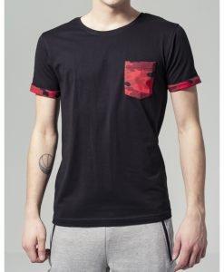 Tricou cu buzunar Camo contrast rosu-camuflaj Urban Classics - Tricouri urban - Urban Classics>Barbati>Tricouri urban