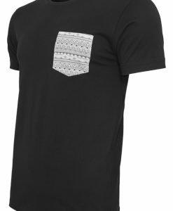 Tricou cu buzunar contrast negru-aztec Urban Classics - Tricouri urban - Urban Classics>Barbati>Tricouri urban