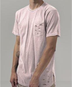 Tricou cu buzunar cu taieturi roz Urban Classics - Tricouri urban - Urban Classics>Barbati>Tricouri urban