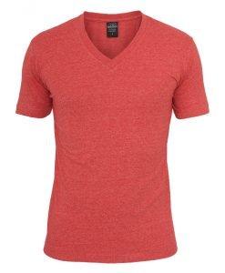 Tricou cu decolteu in V Melange rosu Urban Classics - Tricouri urban - Urban Classics>Barbati>Tricouri urban