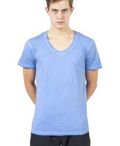 Tricou cu decolteu in V Spray Dye albastru deschis Urban Classics - Tricouri urban - Urban Classics>Barbati>Tricouri urban