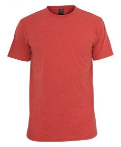 Tricou cu guler rotund Melange rosu Urban Classics - Tricouri urban - Urban Classics>Barbati>Tricouri urban