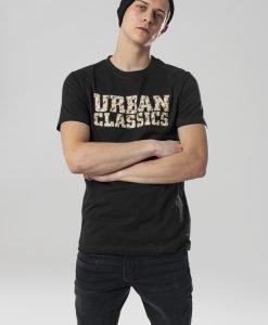 Tricou cu logo Urban Classics negru-nisip - Tricouri urban - Urban Classics>Barbati>Tricouri urban