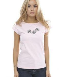 Tricou din bumbac cu broderie B88 roz - Tricouri -