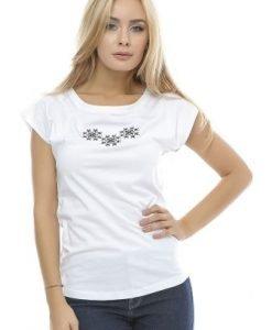 Tricou din bumbac cu broderie B90 alb - Tricouri -
